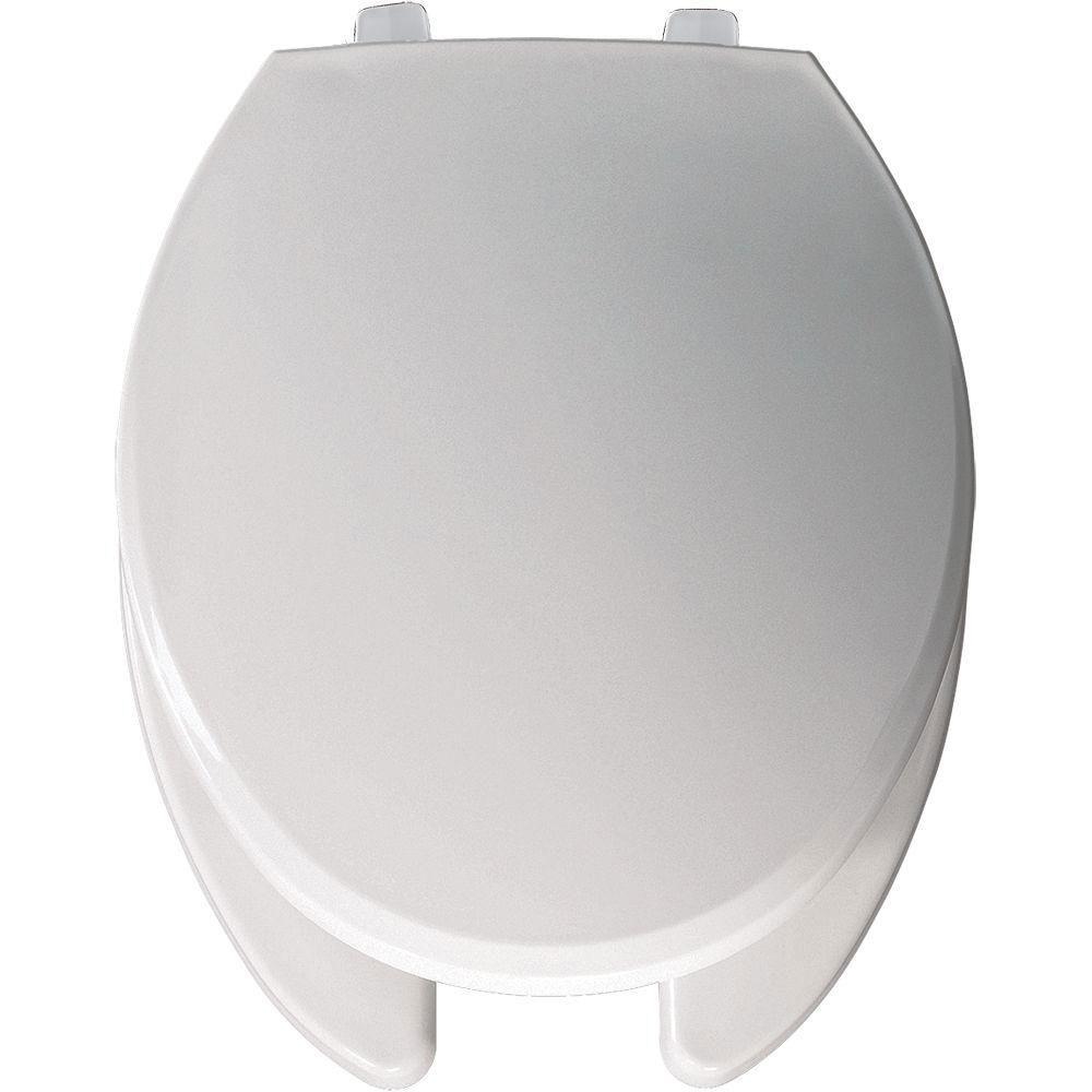 Bemis Just-Lift Elongated Open Front Toilet Seat in White 509948