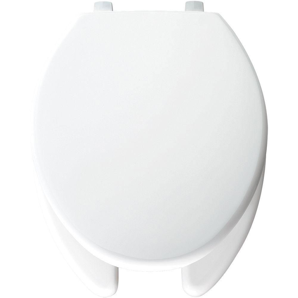 Bemis Just-Lift Elongated Open Front Toilet Seat in White 509951