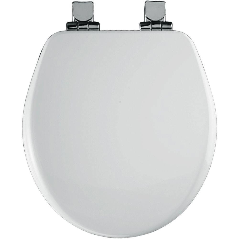 Bemis 9170CHSL 000 Toilet Seat, Alesio II Easy Clean & Change Round Closed Front High Density Molded Wood w/Chrome Whisper Close Hinges - White 588547
