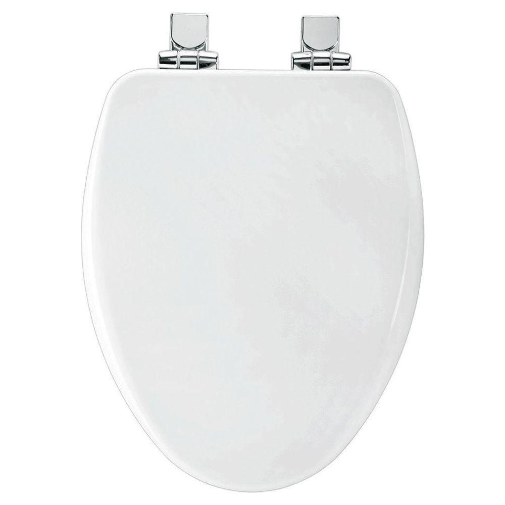 Bemis Slow Close Elongated Closed Front Toilet Seat in White 588548