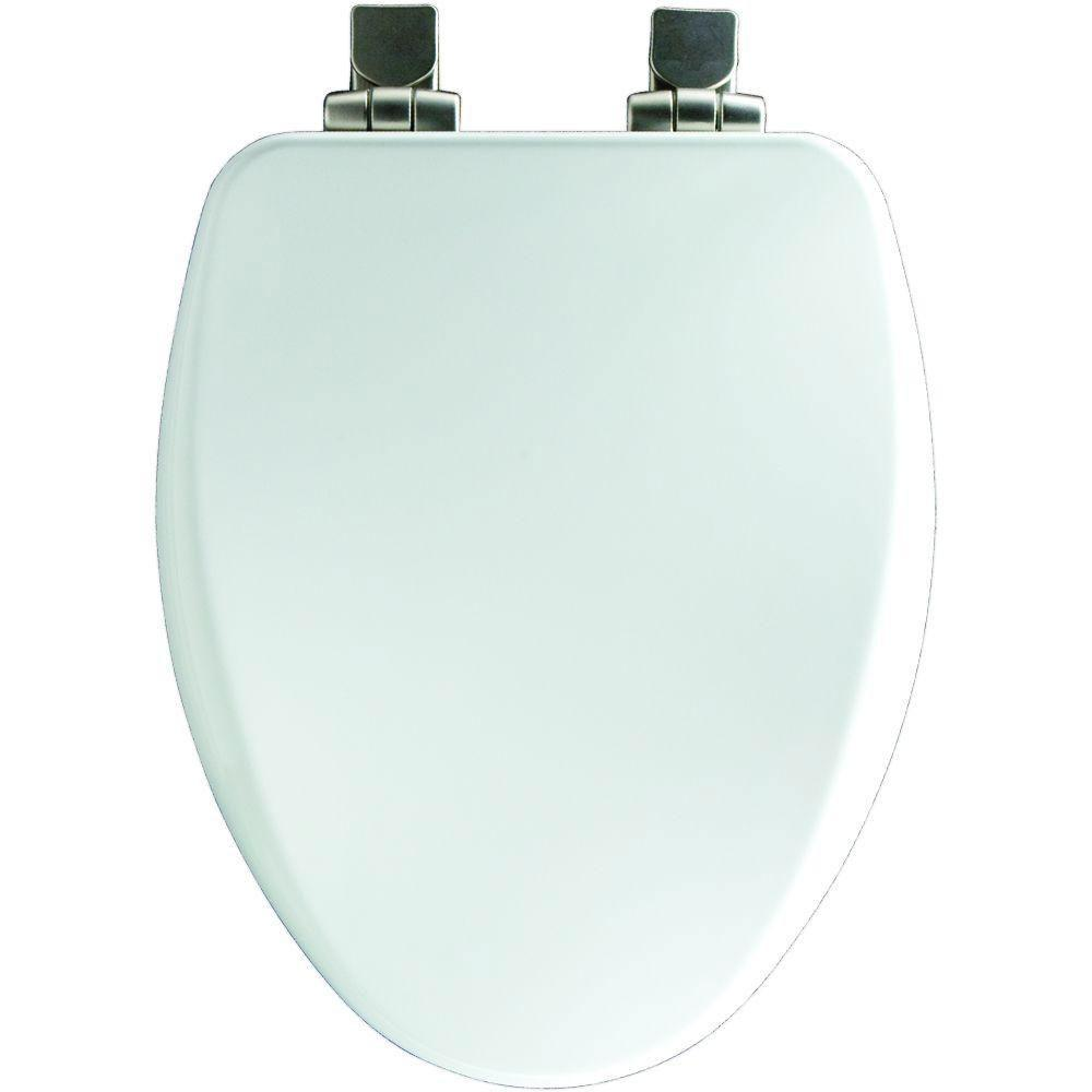Bemis Slow Close Elongated Closed Front Toilet Seat in White 590106