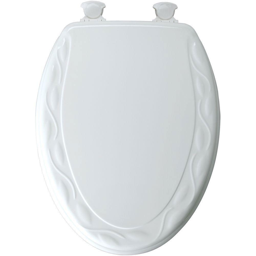 Mayfair Sculptured Ivy Elongated Closed Front Toilet Seat in White 603927