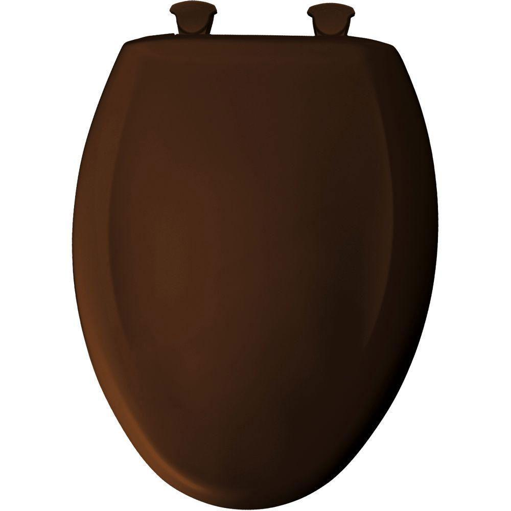 Bemis Elongated Closed Front Plastic Toilet Seat in Swiss Chocolate 647190