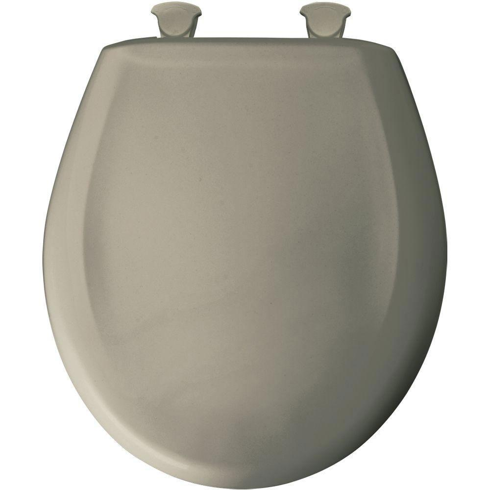 Bemis Slow Close STA-TITE Round Closed Front Toilet Seat in Tender Grey 762172