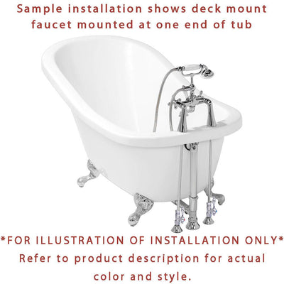 "67"" Cast Iron Slipper Clawfoot Tub and Satin Nickel Tub Hardware Package CTP03"