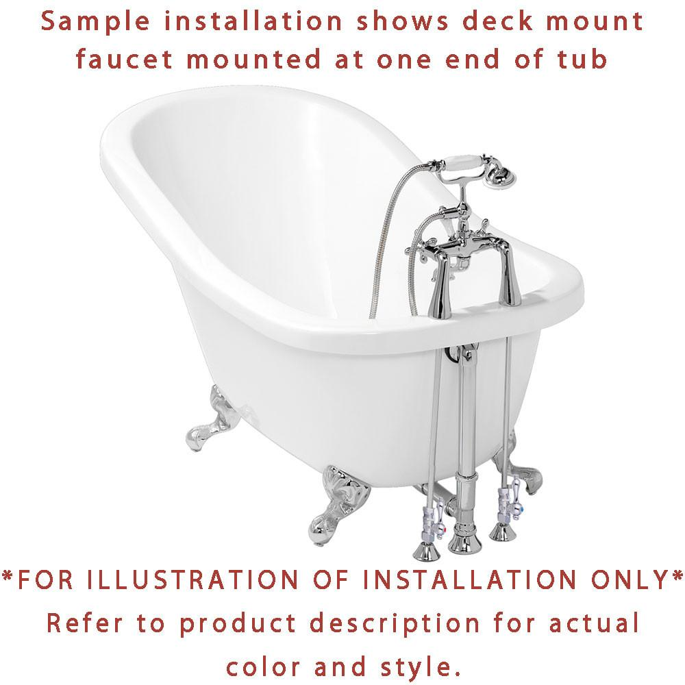 Clawfoot tub plumbing installation - 72 Large Claw Foot Tub With Satin Nickel Clawfoot Tub Faucet And Hardware Ctp07