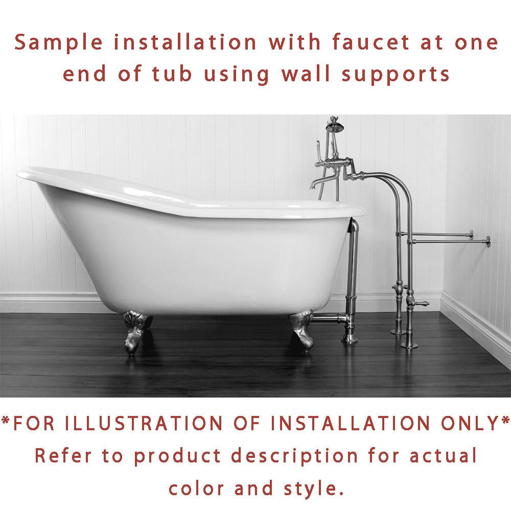 Clawfoot tub faucet installation - 67 Clawfoot Tub Floor Mount Polished Brass Tub Filler Hardware Package Ctp39