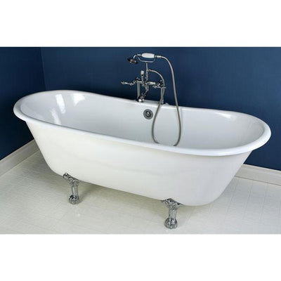 "67"" Cast Iron Double Slipper Clawfoot Tub and Chrome Tub Faucet Package CTP01"