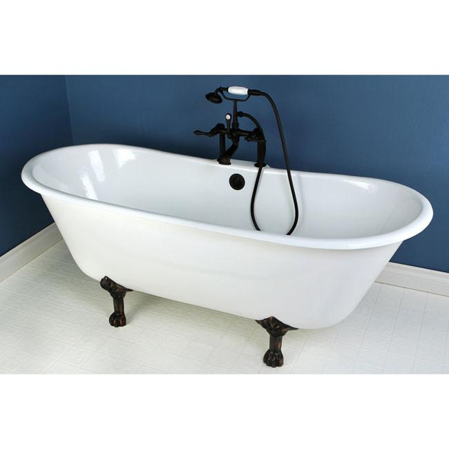 "67"" Cast Iron Slipper Clawfoot Tub and Oil Rubbed Bronze Faucet Package CTP02"