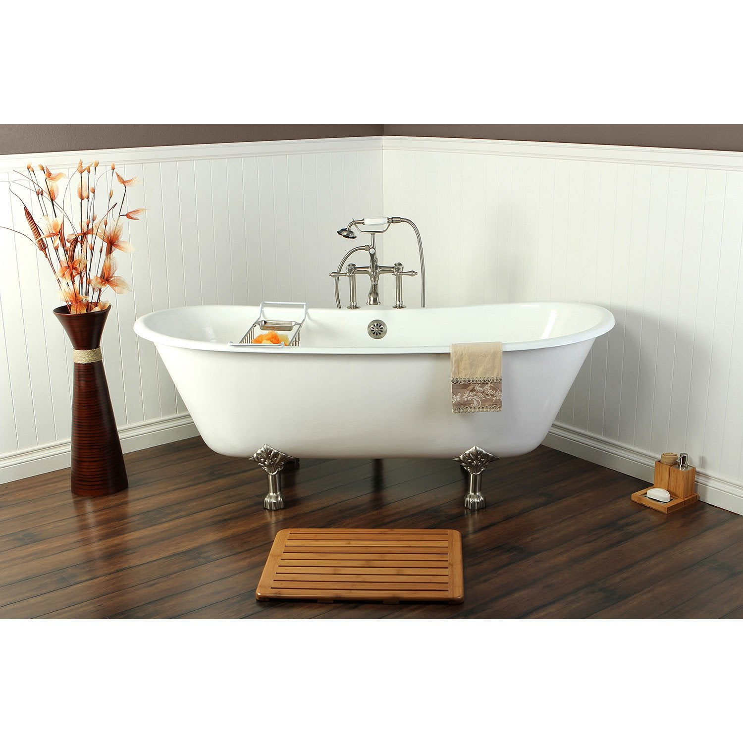 67 Cast Iron Slipper Clawfoot Tub And Satin Nickel Tub Hardware Package Ctp03