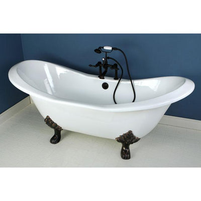 "72"" Clawfoot Tub with Oil Rubbed Bronze Tub Mount Faucet Hardware Package CTP06"