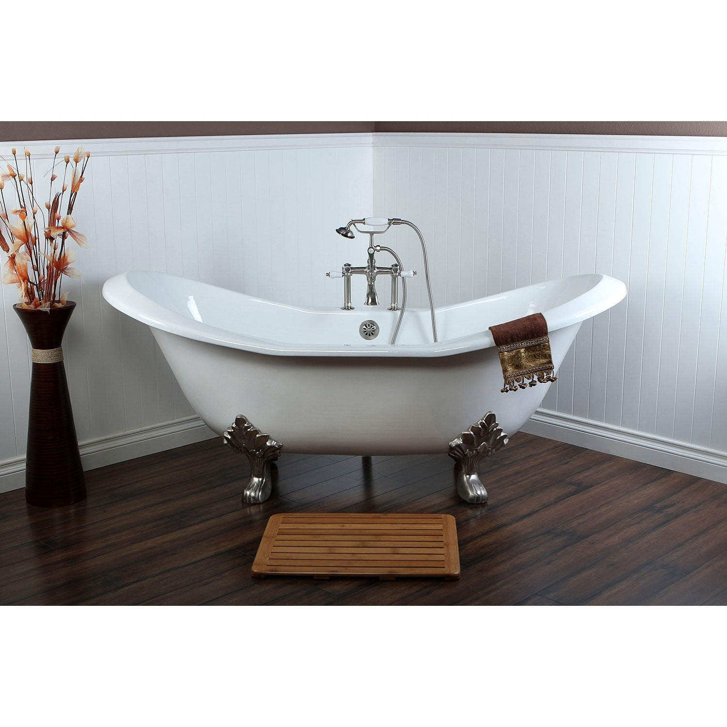 "72"" Large Claw Foot Tub with Satin Nickel Clawfoot Tub Faucet and Hardware CTP07"