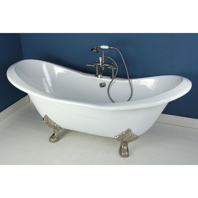 "72"" Claw Foot Bathtub with Satin Nickel Tub Filler and Hardware Package CTP08"