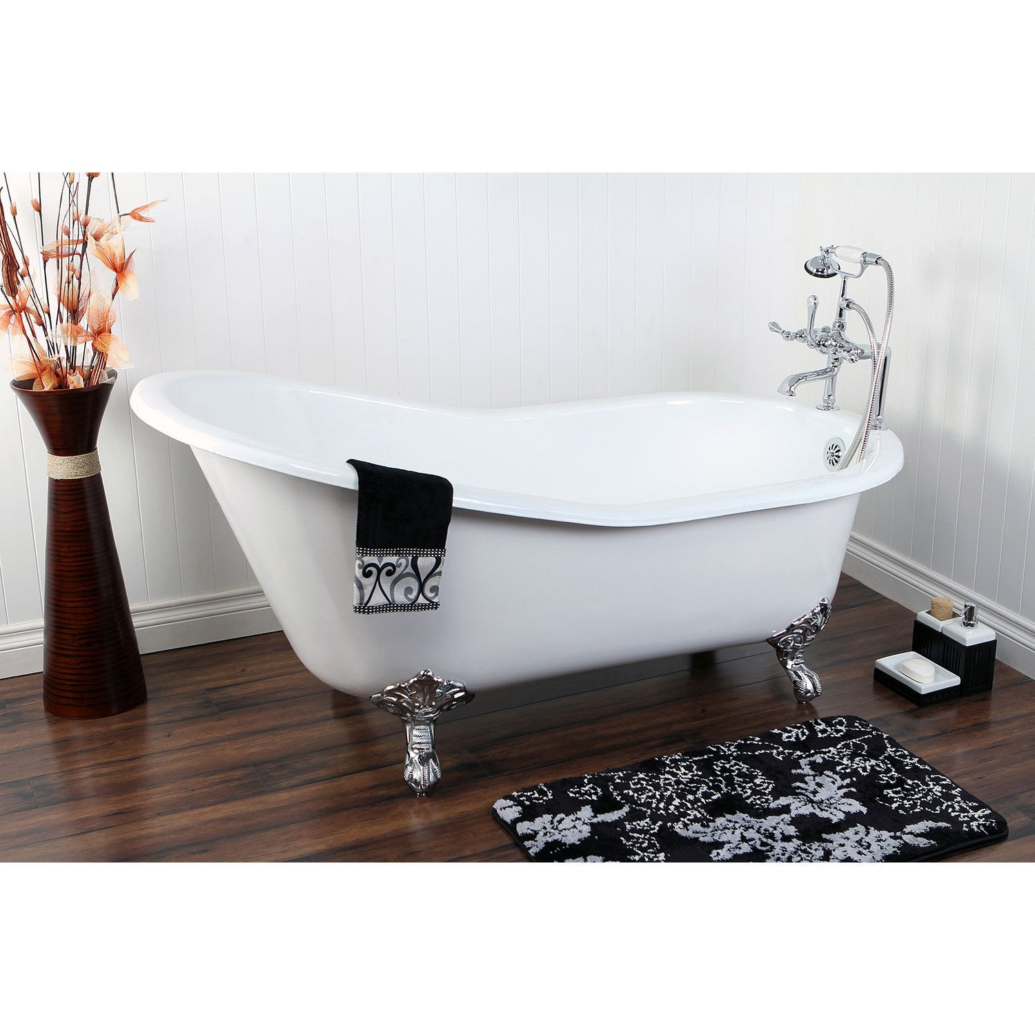 "61"" Cast Iron Slipper Clawfoot Tub with Chrome Faucet and Hardware Package CTP09"