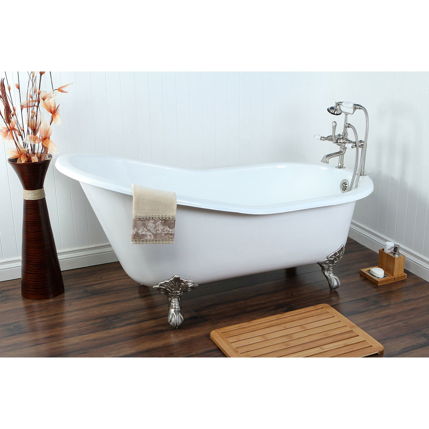 "61"" Clawfoot Tub with Satin Nickel Tub Mount Faucet and Hardware Package CTP12"