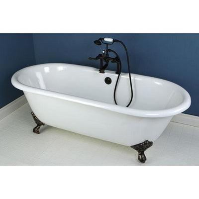 "66"" Clawfoot Bathtub with Oil Rubbed Bronze Tub Faucet & Hardware Package CTP15"