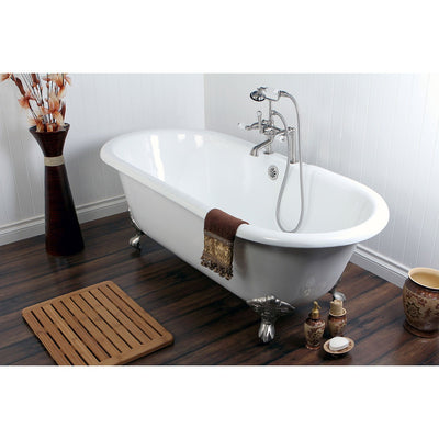 "66"" Cast Iron Claw Foot Tub w/ Satin Nickel Tub Faucet & Hardware Package CTP16"