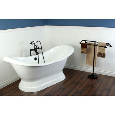 "72"" Freestanding Tub with Oil Rubbed Bronze Tub Filler & Hardware Package CTP22"