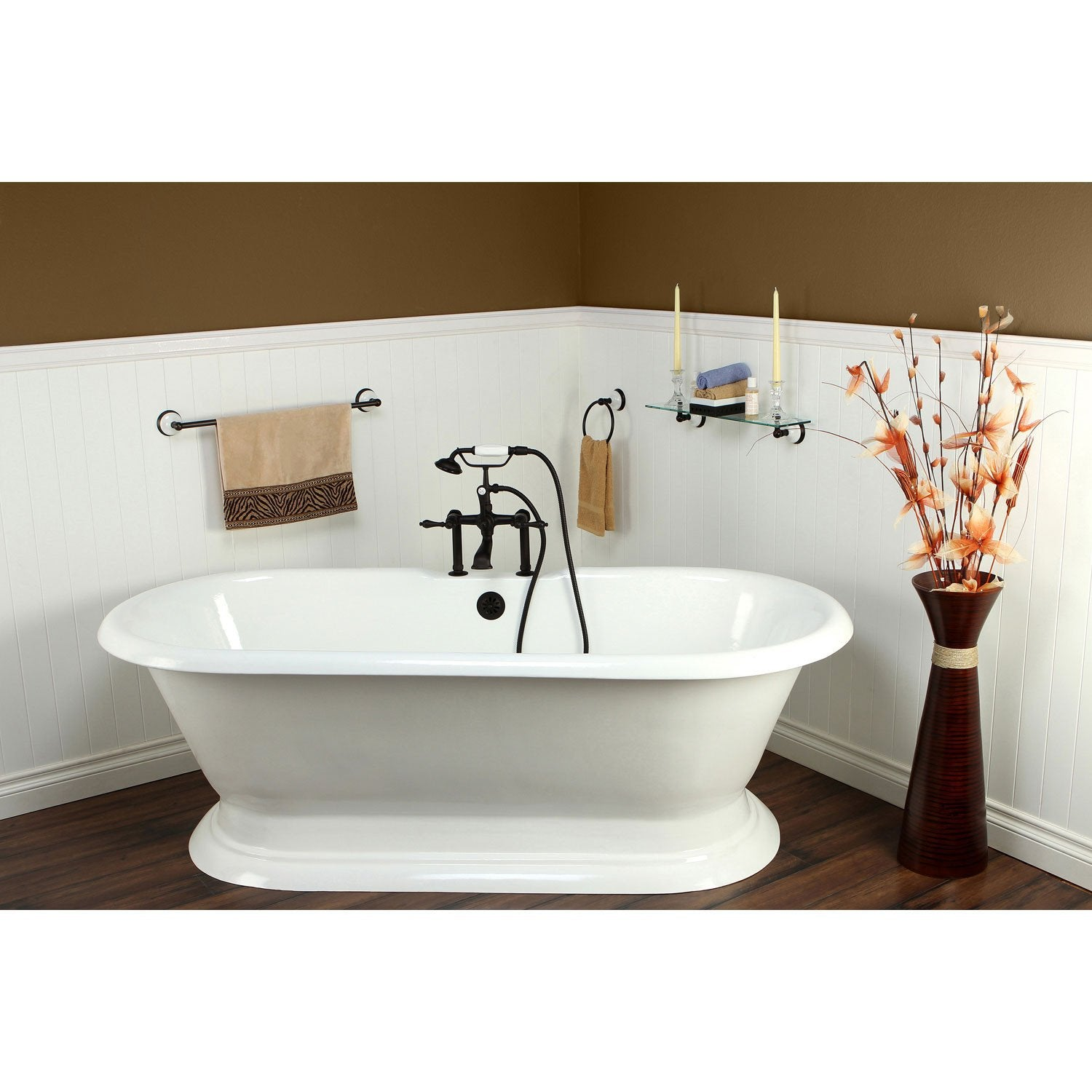 "72"" Freestanding Tub with Oil Rubbed Bronze Tub Faucet & Hardware Package CTP27"