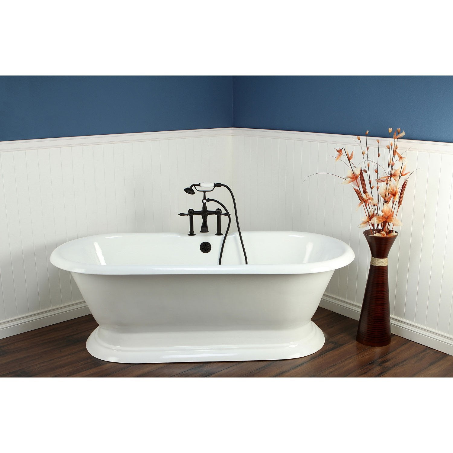 "72"" Freestanding Tub with Oil Rubbed Bronze Tub Faucet & Hardware Package CTP29"