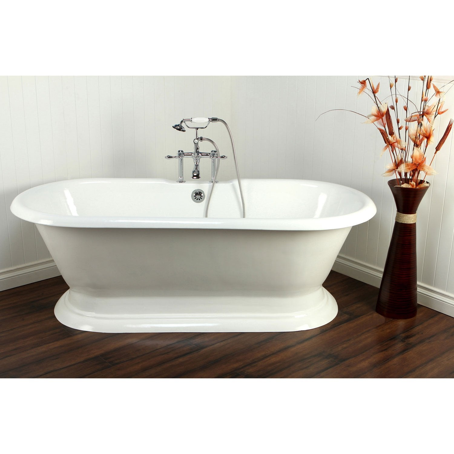"72"" Freestanding Tub with Chrome Tub Filler Faucet and Hardware Package CTP30"