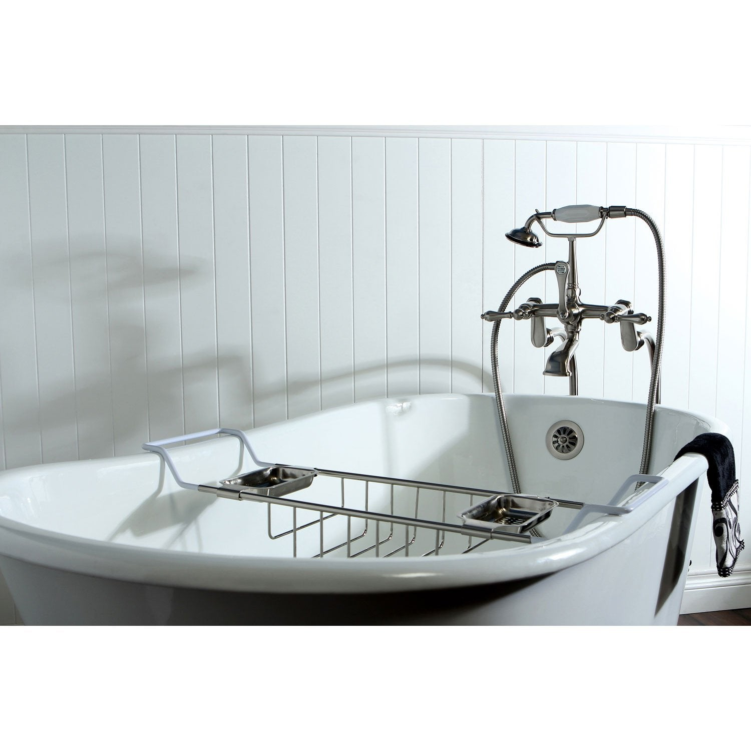 "53"" Clawfoot Tub with Freestanding Satin Nickel Faucet & Hardware Package CTP31"