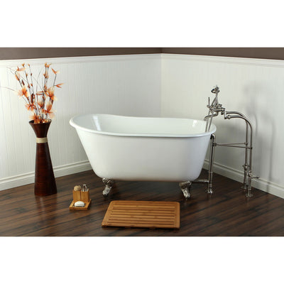 "53"" Clawfoot Tub w/ Floor Mount Satin Nickel Tub Filler & Hardware Package CTP32"