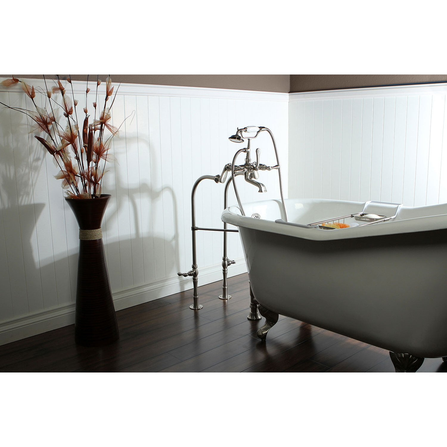 "60"" Clawfoot Tub w/ Floor Mount Satin Nickel Tub Filler & Hardware Package CTP33"