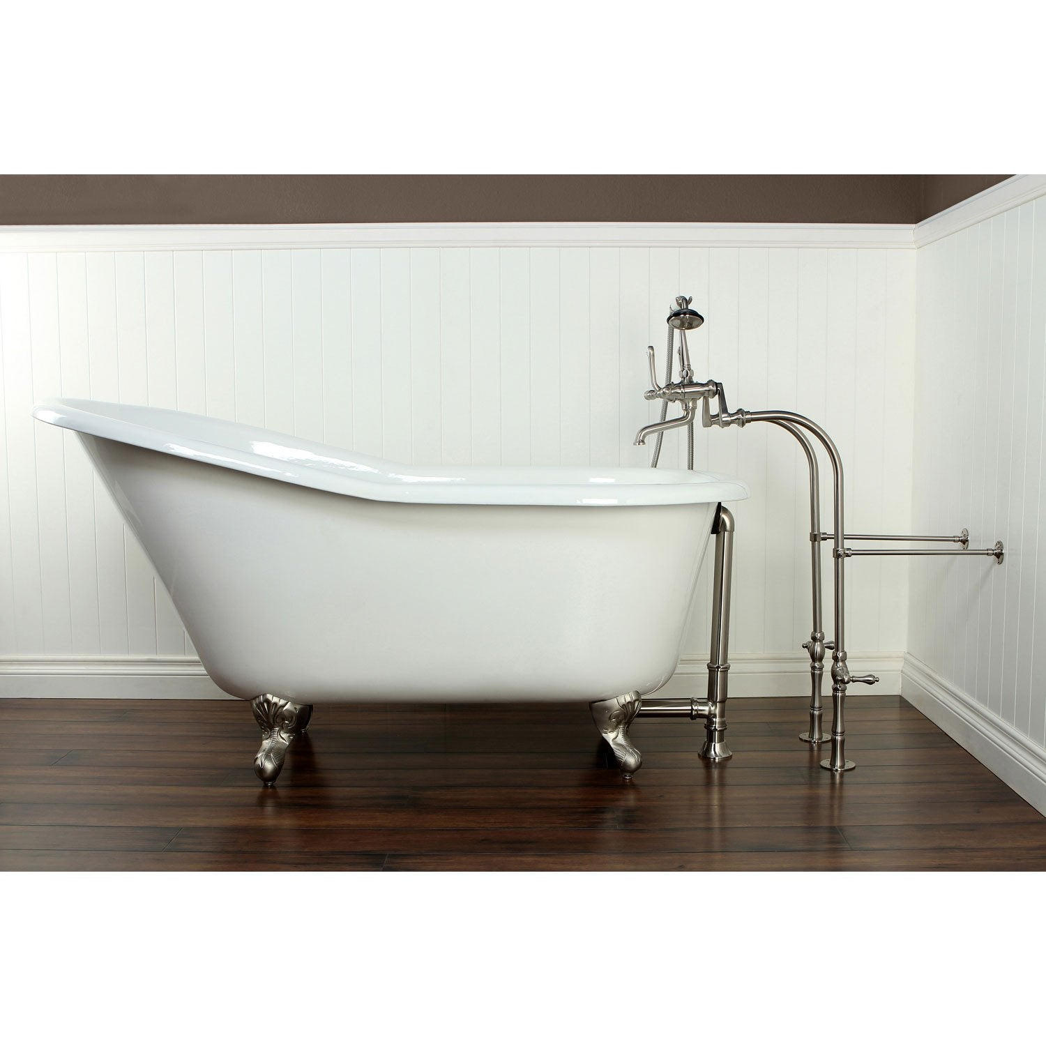 "60"" Clawfoot Tub w/ Floor Mount Satin Nickel Tub Faucet & Hardware Package CTP34"