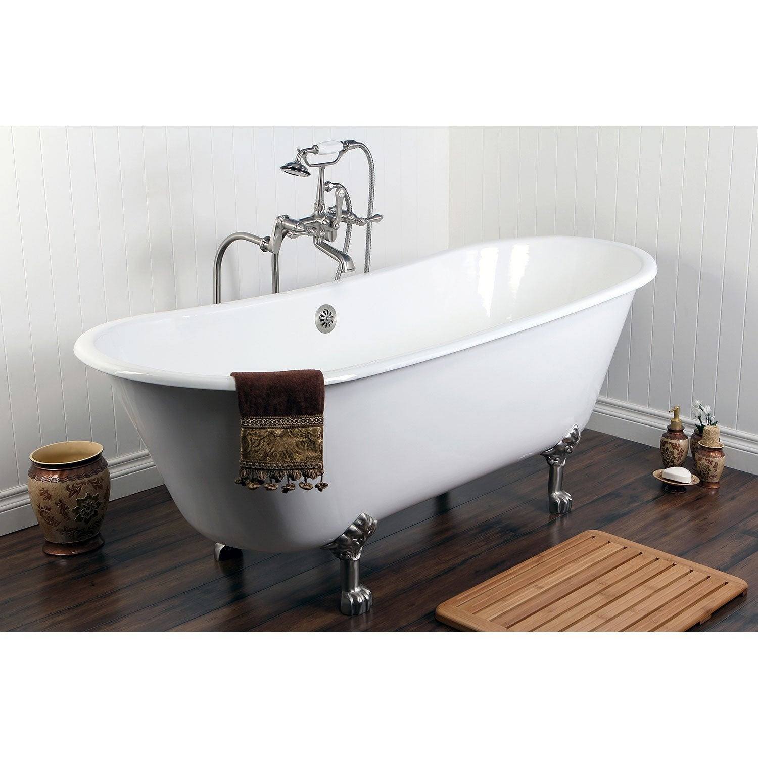"67"" Clawfoot Tub w Freestanding Satin Nickel Tub Faucet & Hardware Package CTP35"