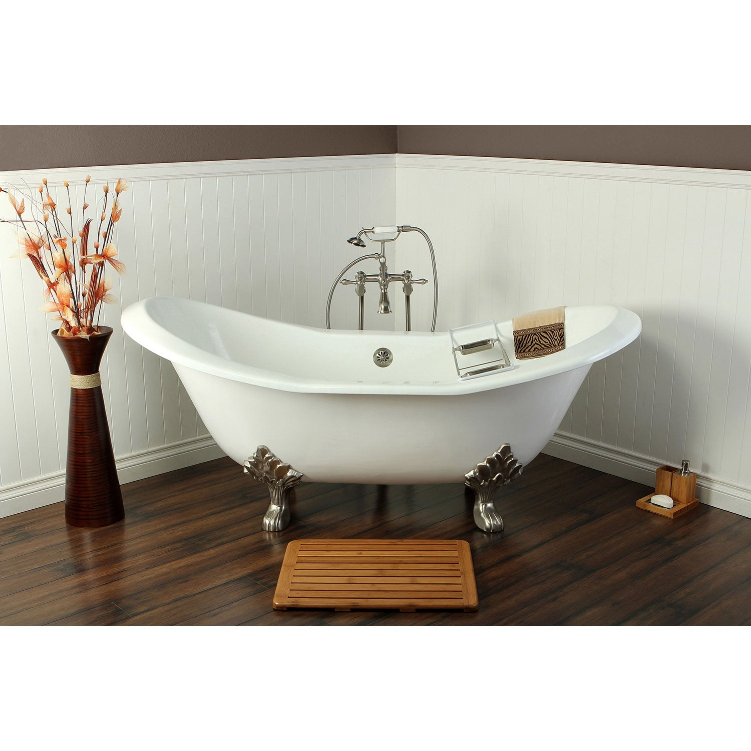 "72"" Clawfoot Tub w Freestanding Satin Nickel Tub Faucet & Hardware Package CTP36"