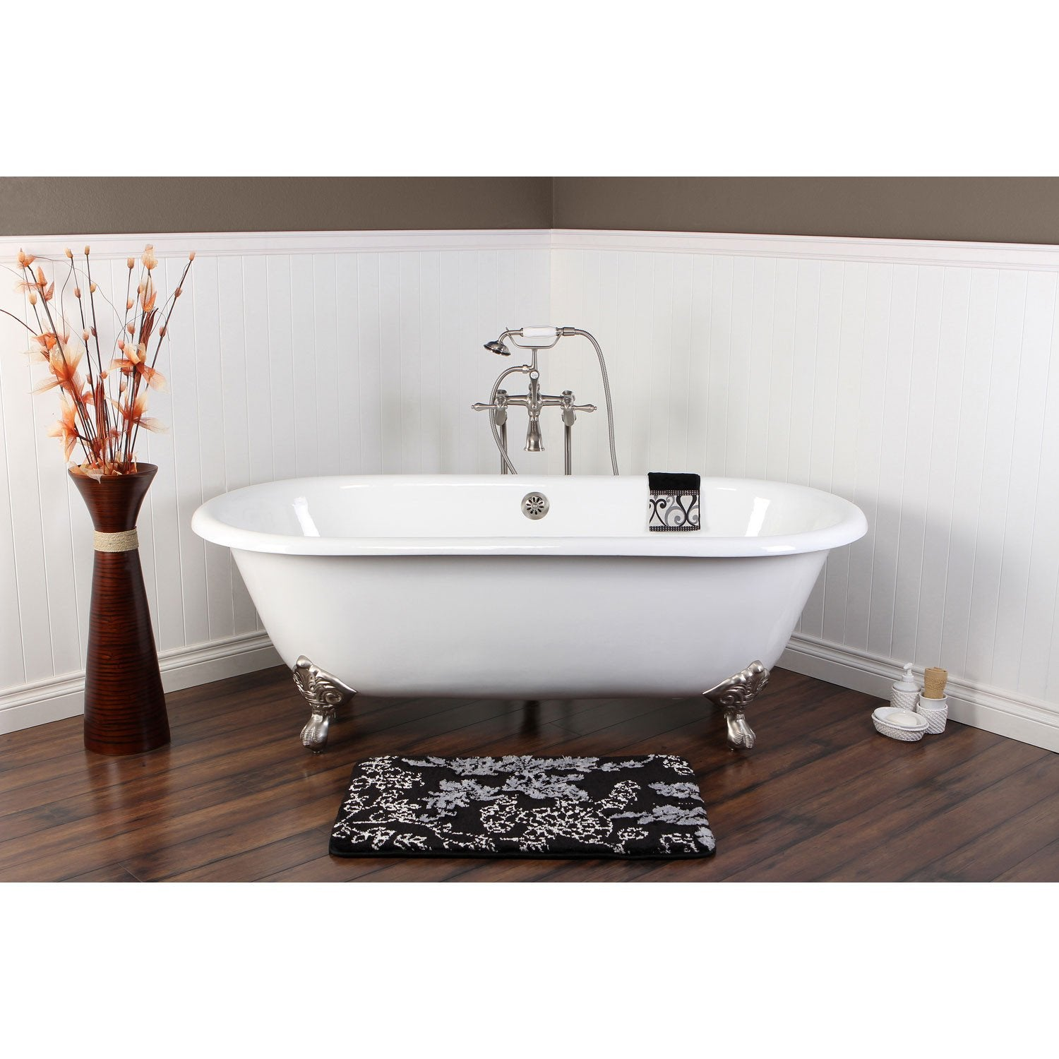 "66"" Clawfoot Tub w Freestanding Satin Nickel Tub Filler & Hardware Package CTP37"