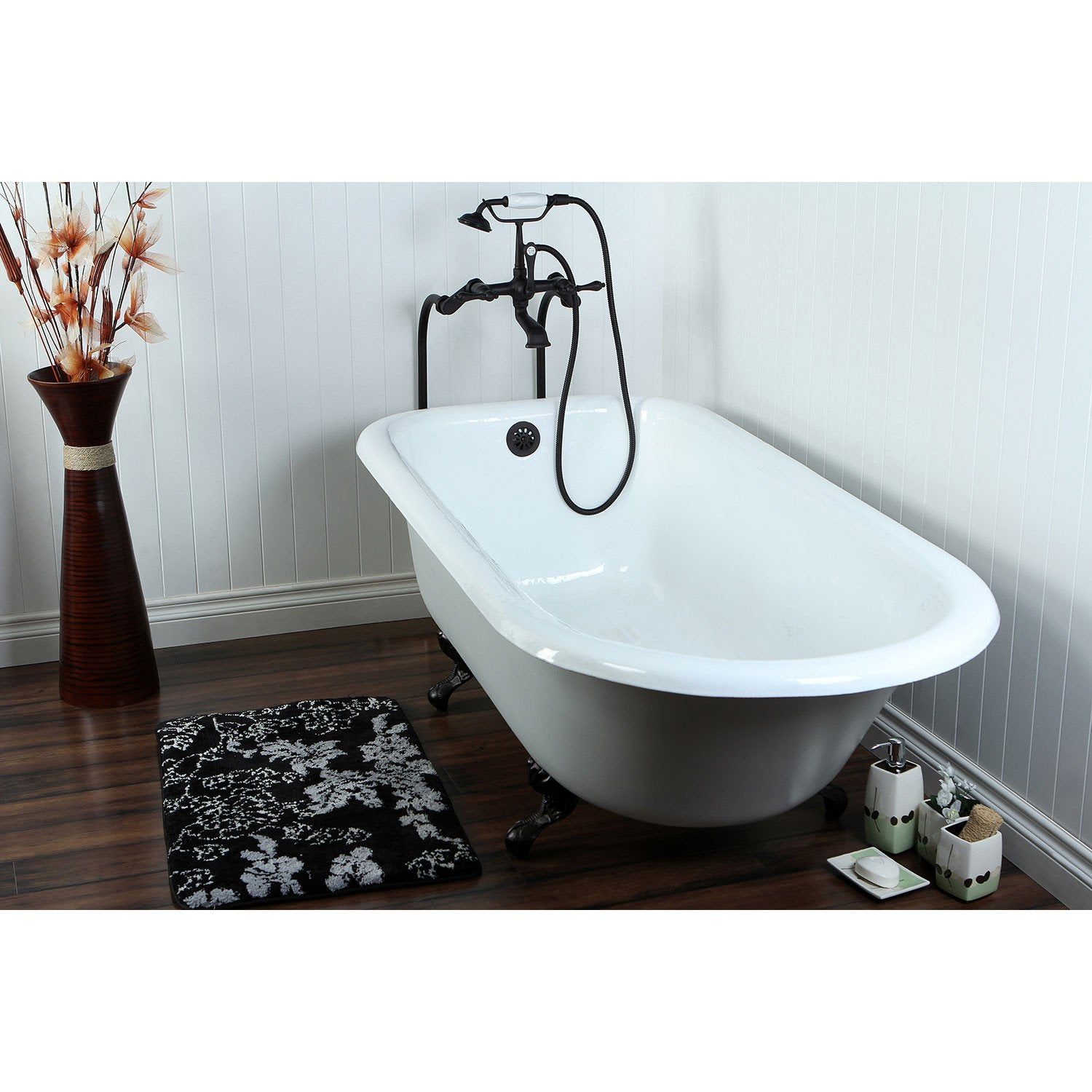 "67"" Clawfoot Tub w Floor Mount Oil Rubbed Bronze Tub Filler Faucet Package CTP40"