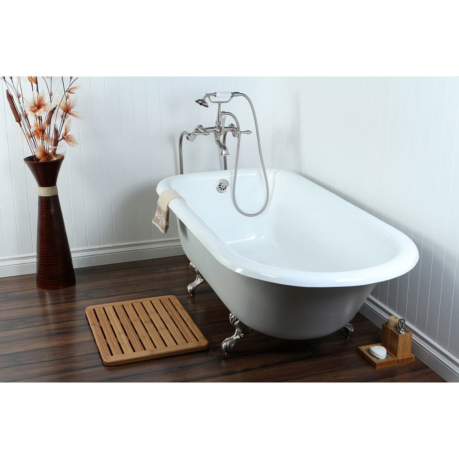 "67"" Clawfoot Tub w/ Floor Mount Satin Nickel Tub Filler & Hardware Package CTP41"