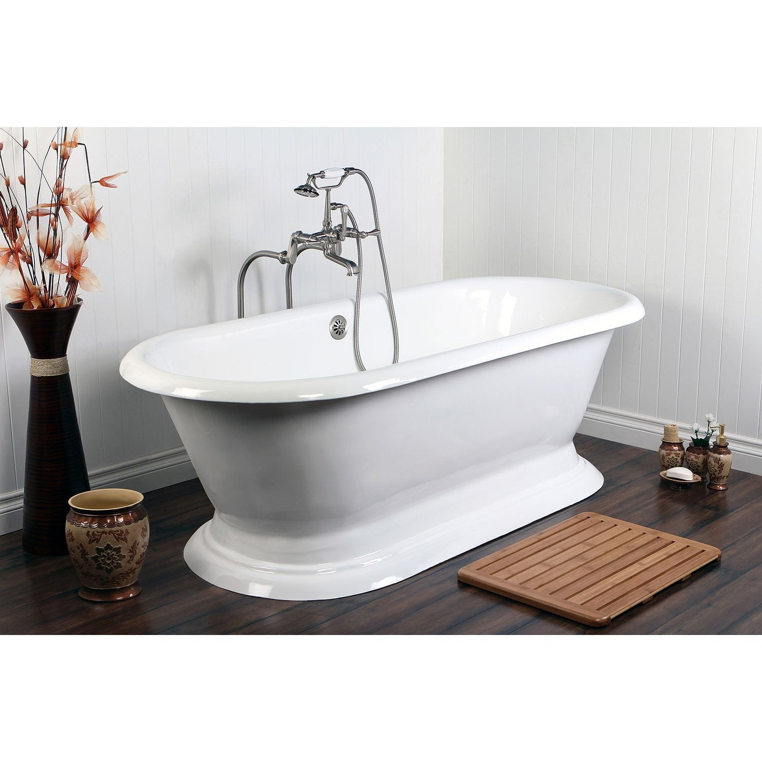 "67"" Freestanding Tub w/ Satin Nickel Tub Filler Faucet & Hardware Package CTP43"