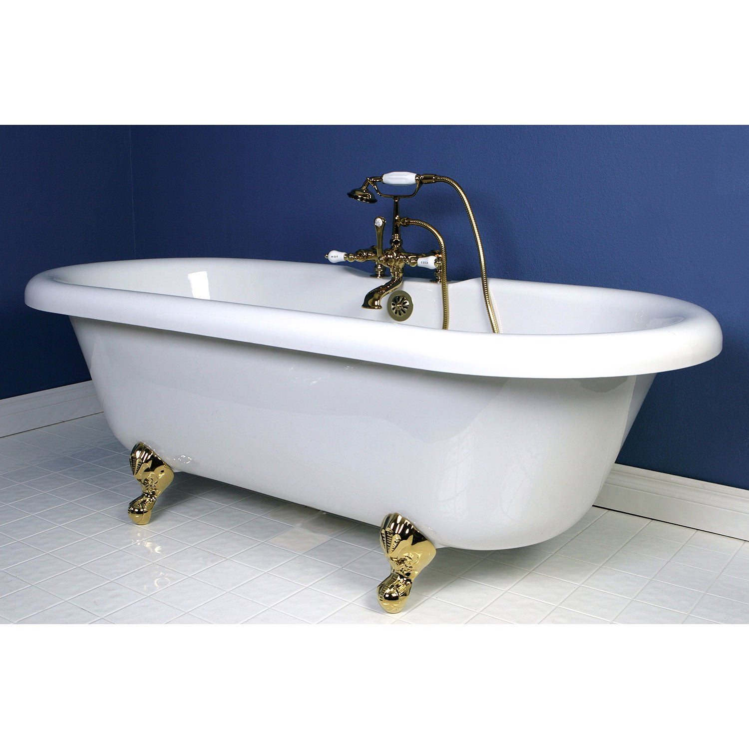 "67"" Acrylic Clawfoot Tub with Polished Brass Tub Faucet & Hardware Package CTP45"