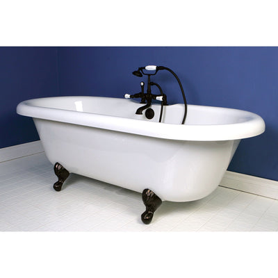 "67"" Acrylic Clawfoot Tub w Oil Rubbed Bronze Tub Faucet & Hardware Package CTP46"