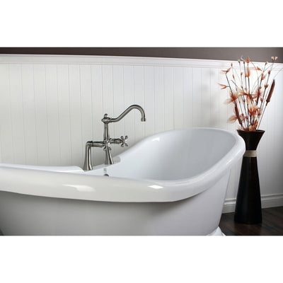 "69"" Modern Acrylic Pedestal Tub w/ Satin Nickel Faucet & Hardware Package CTP48"