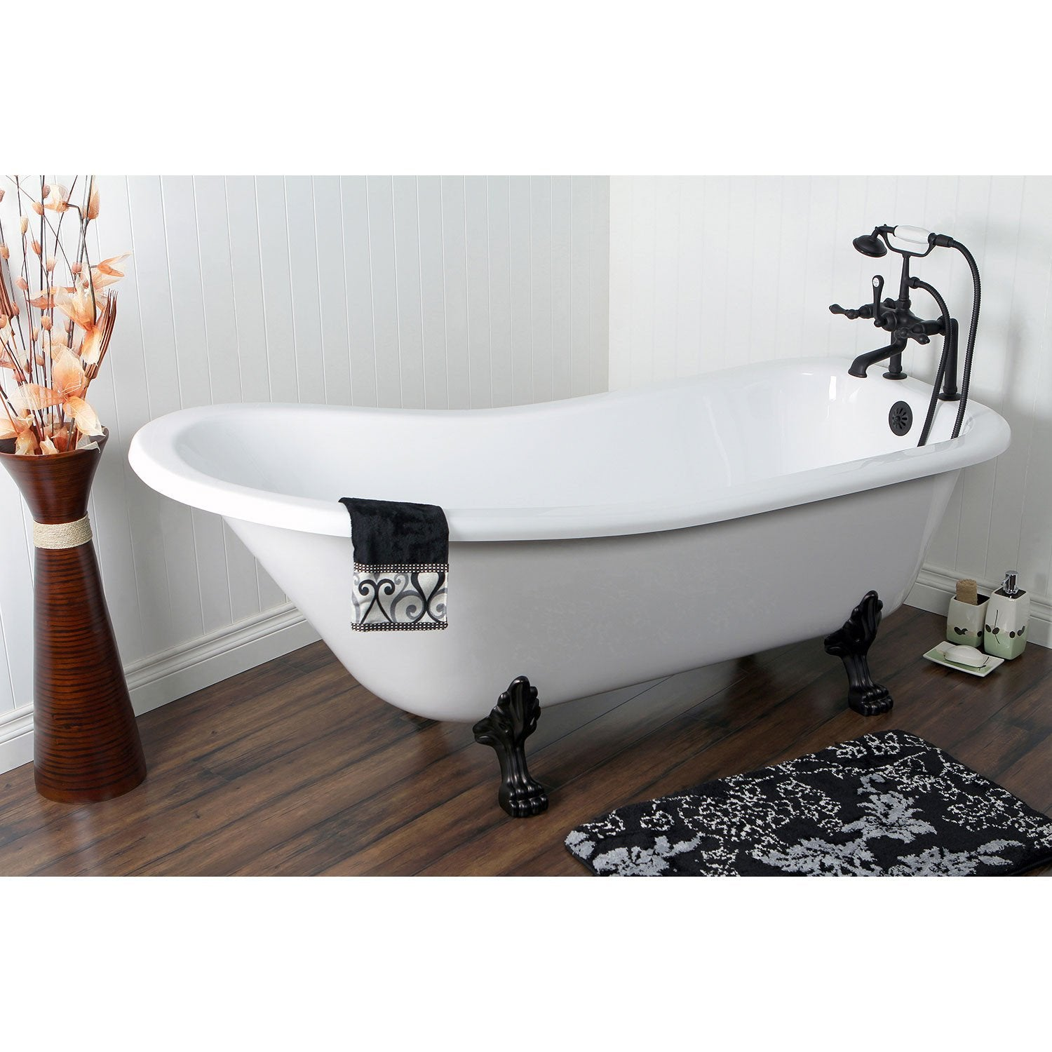"69"" Acrylic Clawfoot Tub w Oil Rubbed Bronze Tub Filler & Hardware Package CTP51"