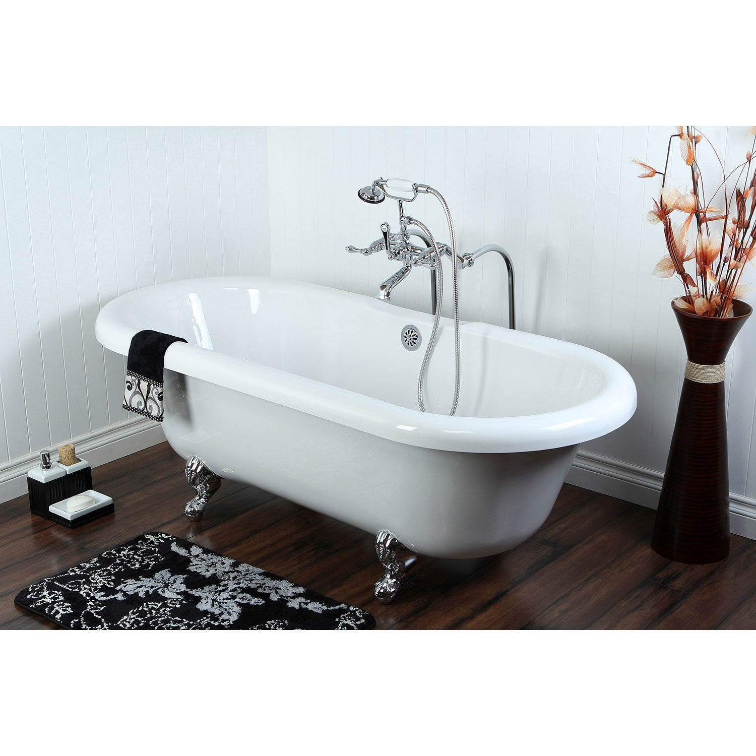 Picture of: 67 Acrylic Clawfoot Tub W Freestanding Chrome Tub Filler Hardware Pac Faucetlist Com