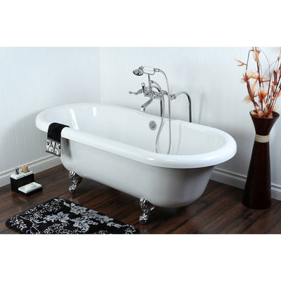 "67"" Acrylic Clawfoot Tub w Freestanding Chrome Tub Filler Hardware Package CTP53"