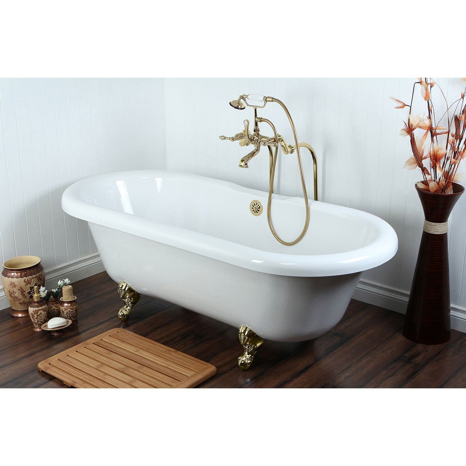 "67"" Clawfoot Tub w Freestanding Polished Brass Tub Filler Hardware Package CTP54"