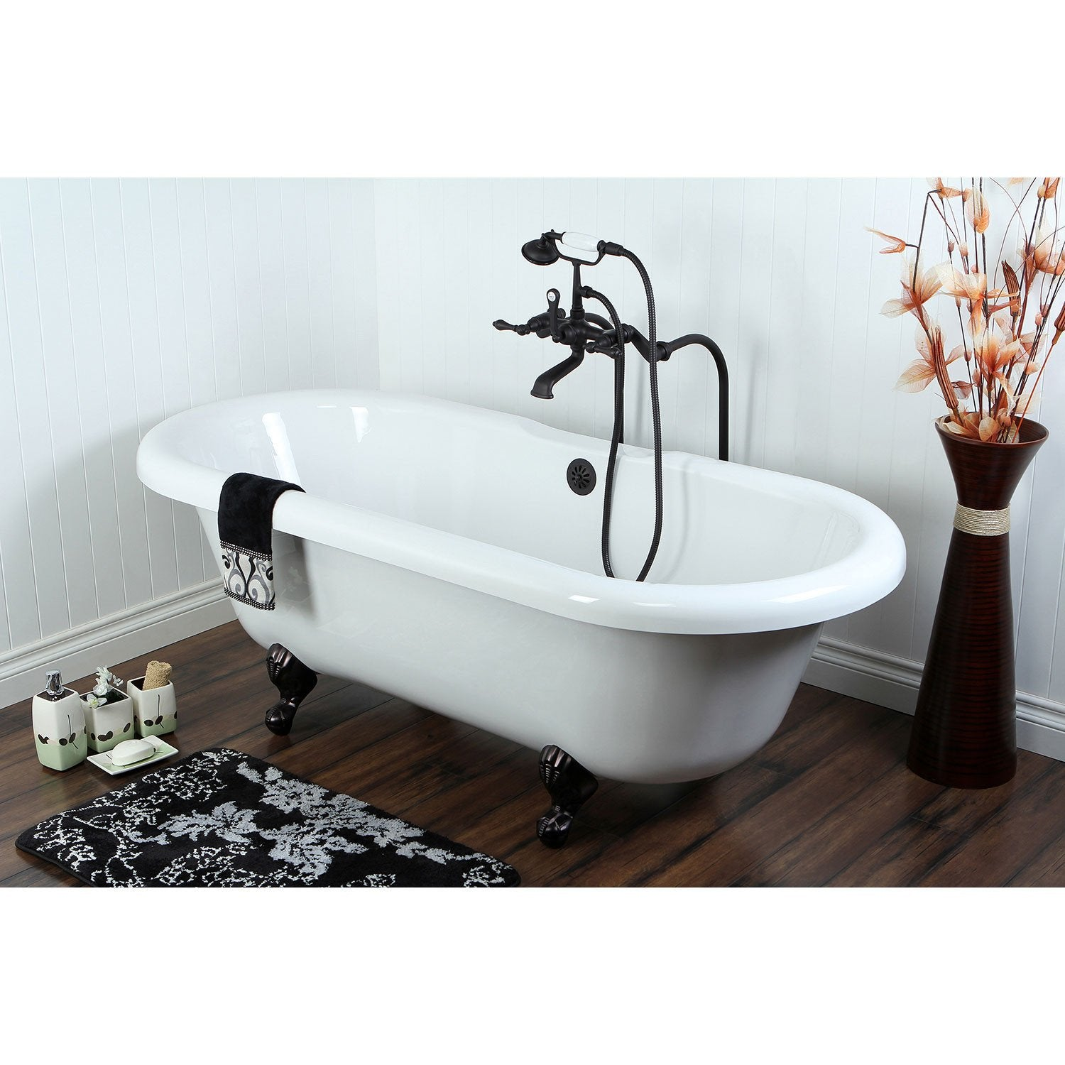 "67"" Clawfoot Tub with Freestanding Oil Rubbed Bronze Tub Faucet Package CTP55"