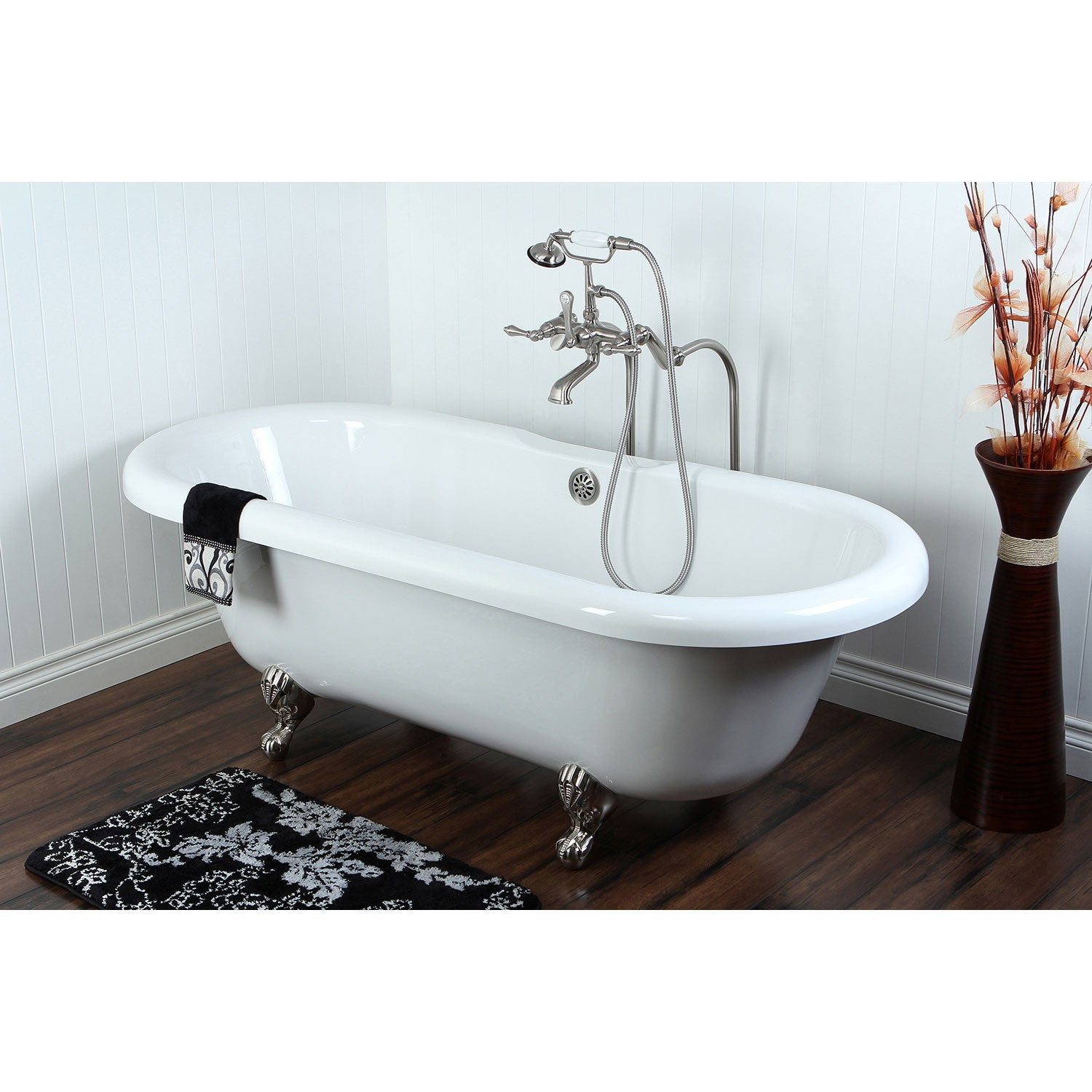 "67"" Acrylic Clawfoot Tub with Freestanding Satin Nickel Tub Faucet Package CTP56"