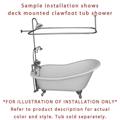Satin Nickel Faucet Clawfoot Tub Shower Kit with Enclosure Curtain Rod 413T8CTS