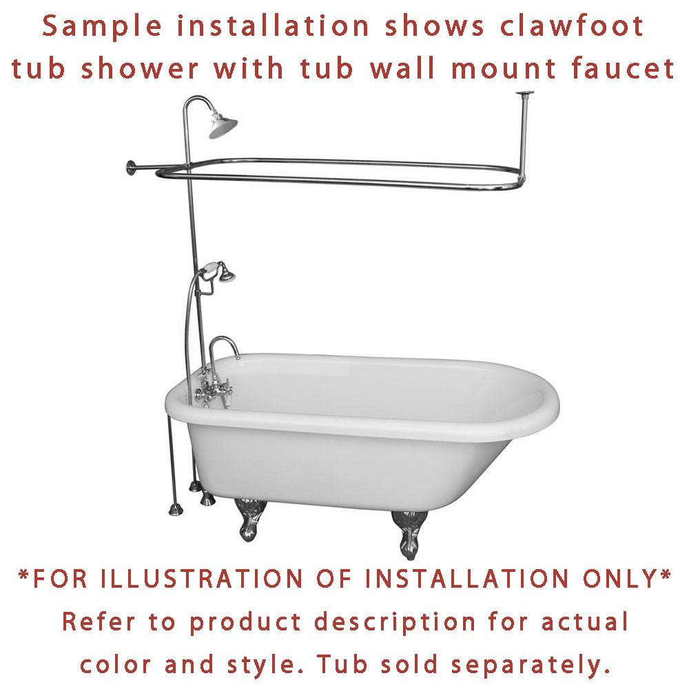 Satin Nickel Clawfoot Tub Shower Faucet Kit With Enclosure Curtain