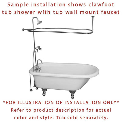 Satin Nickel Clawfoot Bath Tub Faucet Shower Kit with Enclosure Curtain Rod 465T8CTS