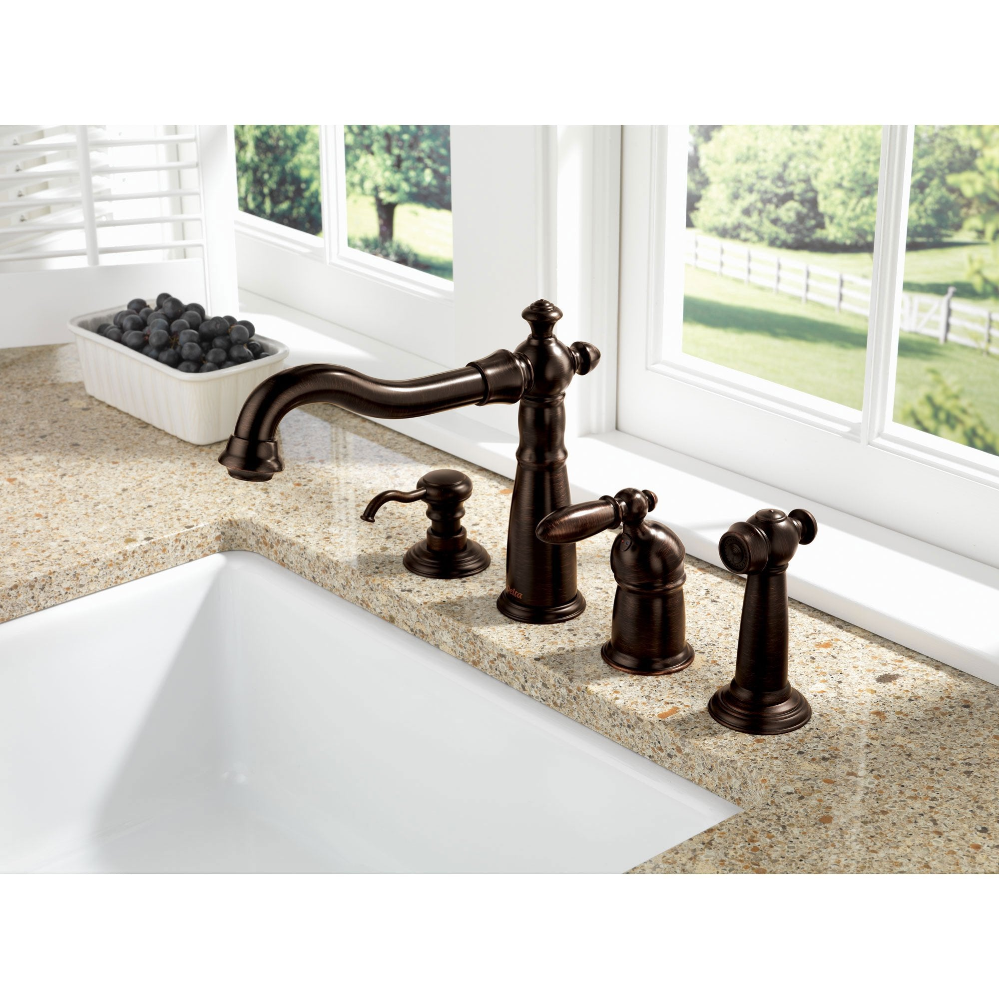 Delta Venetian Bronze Finish Victorian Collection Single Handle Kitchen Faucet with Sidespray and Deck Mount Soap Dispenser Package D002CR