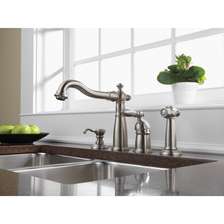 Delta Stainless Steel Victorian Collection Single Handle Kitchen Faucet  With Sidespray And Deck Mount Soap Dispenser