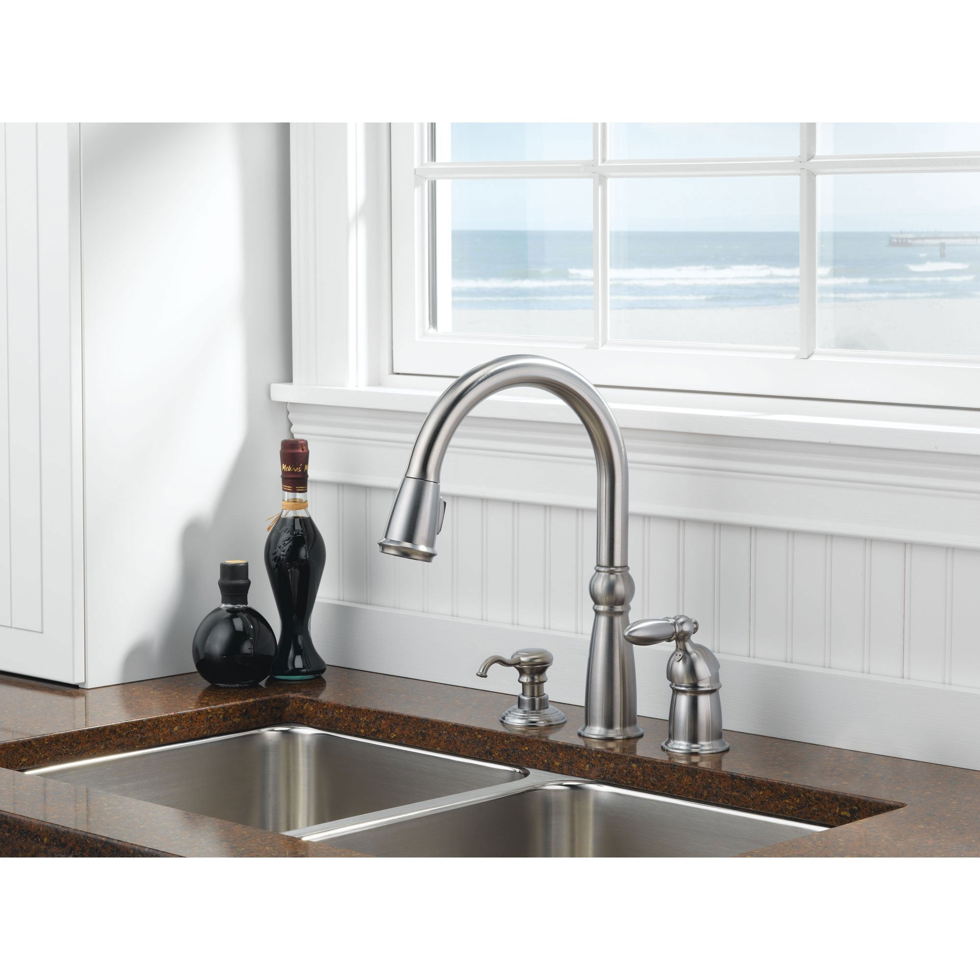 Delta Victorian Collection Stainless Steel Finish Single Handle Pull Down Kitchen Sink Faucet and Soap Dispenser Package D025CR